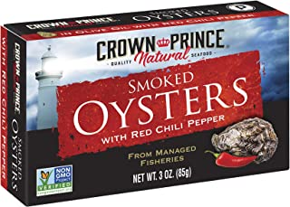 Crown Prince Natural Smoked Oysters with Red Chili Pepper, 3 Oz Cans (Pack Of 18)