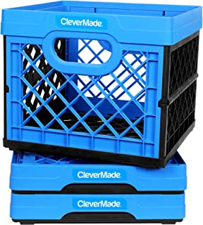 CleverMade Milk Crates, 25L Plastic Stackable Storage Bins CleverCrates Utility Folding Baskets, Pack of 3, Blue