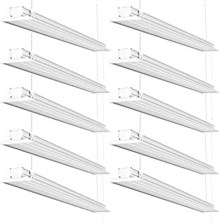 Sunco Lighting 10 Pack Flat LED Shop Light, 4 FT, Linkable Double Integrated LED, 40W=300W, 5000K Daylight, 4500 LM, Clear Lens, Plug in, Suspension Mount, Pull Chain, Garage - ETL, Energy Star