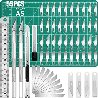 DIYSELF Knife Upgrade Craft Knife Hobby Knife Precision Knife Set, with Ruler, Cutting Mat, Utility Knife Retractable and ...