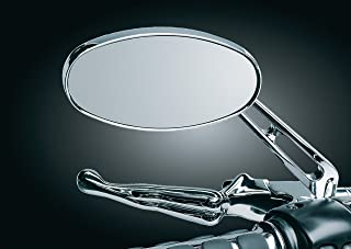 لوازم جانبی دسته فرمان موتور سیکلت Kuryakyn 1437: آینه های جانبی بیضوی عقب با شیشه تخت ، کروم ، 1 جفت