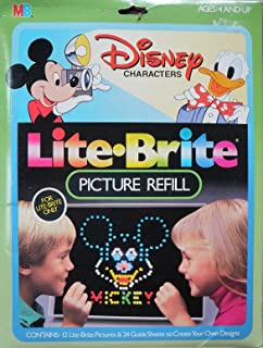 Lite Brite Picture Refill - Disney Characters 12 Lite Brite Pictures & 24 Guide Sheets to Create Your Own Design #4779 Mic...