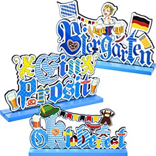 Blulu 3 Oktoberfest Party Decorations Table Centerpieces Bavarian German Room Decor, Beer Festival Wooden Sign Letter Table Topper for Octoberfest Party Dinner Coffee Bar Bedroom