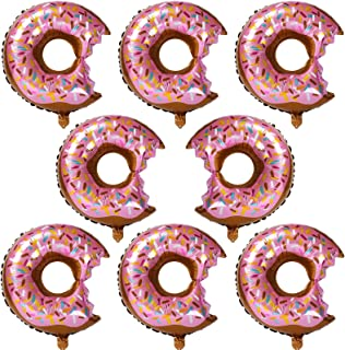 8 Pcs Big Donut Foil Balloons Large Mylar Doughnut Balloon Giant for Birthday Party Decorations Supplies Baby Shower Donut Time