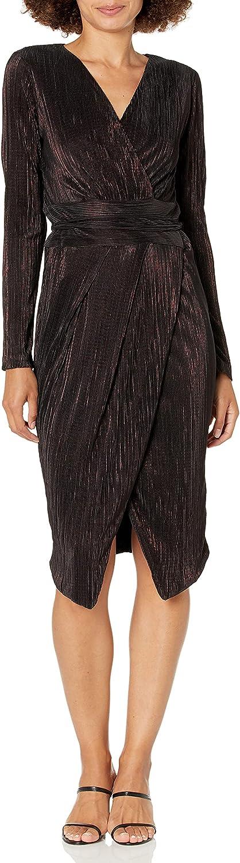 RACHEL Rachel Roy Women's Ribbed Knit Faux Wrap Dress