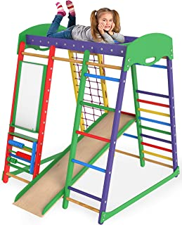Jungle Gym Indoor Playground - Slide for Kids Playset - Kid Jungle Gym Toddler Climber – Climbing Frame Eezy Peezy Monkey Bars - Dome Gyms with Swedish Ladder - Climbers Toddlers Toys – Akvarelka