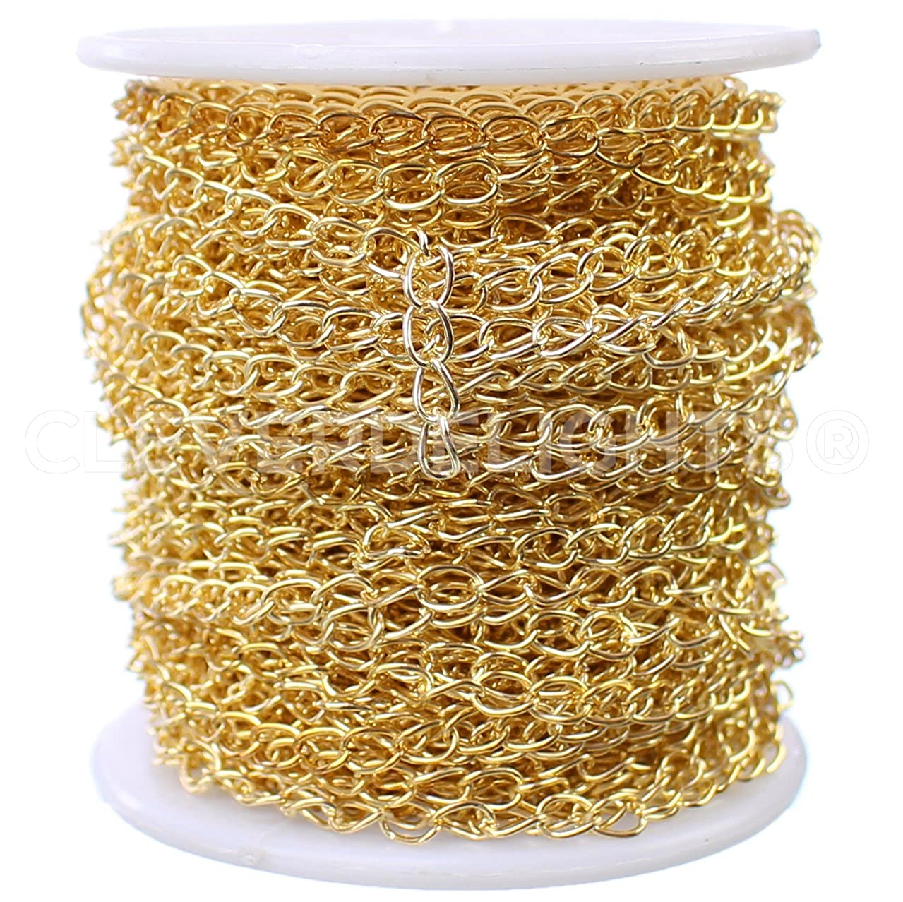 CleverDelights Curb Chain Spool - 3.5x5.5mm Link - Gold Color - 100 Feet - Bulk Roll Jewelry Chain