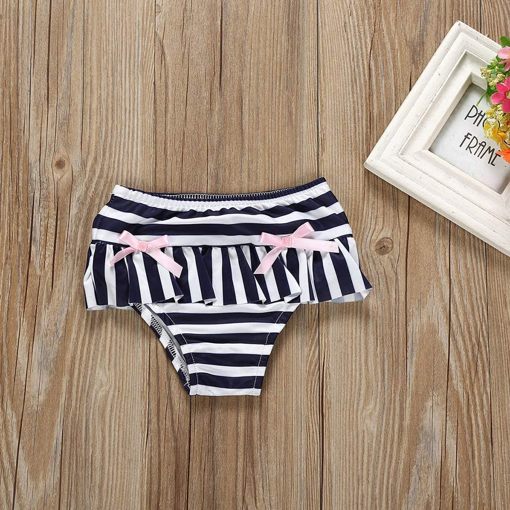 Cuekondy Summer Toddler Baby Girls Kids Stripe Bowknot Tankini Bikini Swimwear Swimsuit Tops+Shorts Bathing Suit 2pc