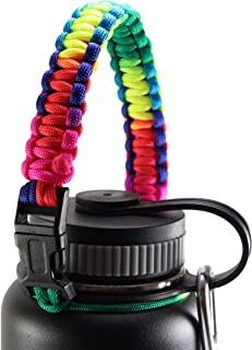 GALAXTEK Paracord Handle Compatible with Hydro Flask Wide Mouth Bottle - Durable Carrier, Secure Accessories, Survival Strap Cord with Safety Ring and Carabiner