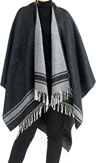 Angiola Made in Italy Women Fringed Striped Wool Poncho Wrap Cape Comfy Fashion