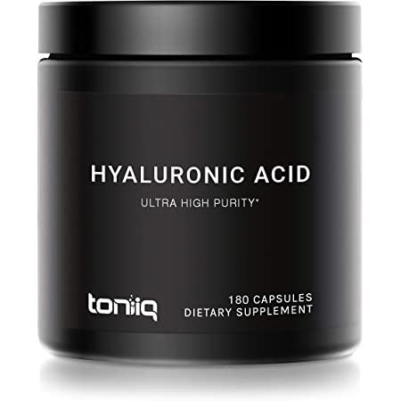 Ultra High Purity Hyaluronic Acid Capsules - 95%+ Highly Purified for Increased Bioavailability - 275mg Formula - Non-GMO Fermentation - High Strength with Vitamin C - 180 Capsules