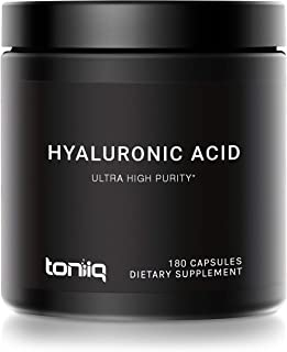 Ultra High Purity Hyaluronic Acid Capsules - 275mg Formula - Non-GMO Fermentation - High Strength with Vitamin C - 180 Cap...