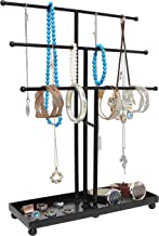 Modern Black Metal 3 Tier Tabletop Bracelet & Necklace Jewelry Organizer Display Tree Rack w/Ring Tray (Renewed)