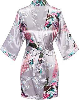 Women's Short Kimono Robes Bride and Bridesmaid Satin Floral Bathrobe Peacock Sleepwear Dressing Gown for Wedding Party