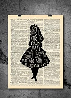 Alice in Wonderland Imagination Quote Vintage Dictionary Art Print 8×10 inch Home..
