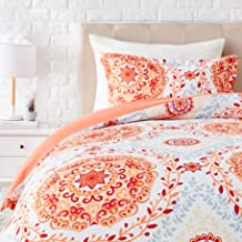 AmazonBasics Light-Weight Microfiber Duvet Cover Set with Zipper Closure - Twin/Twin XL, Coral Medallion