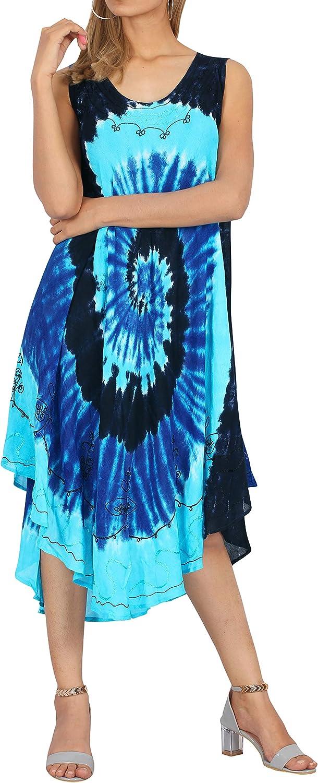 LA LEELA Women's Sleeveless Hand Tie Dye Tunic Boho Casual Flowy Beach Dress