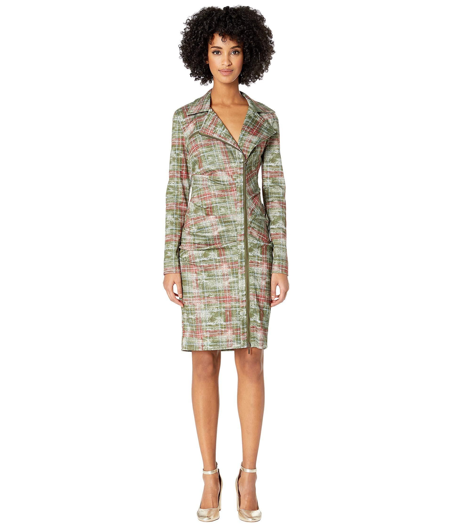 Nicole Miller Women's Weathered Plaid Tucked Dress