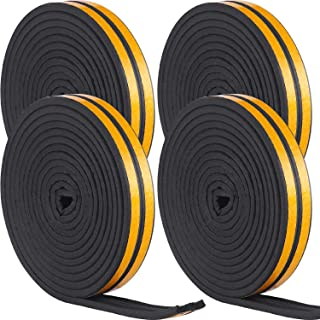 Heysta Weather Stripping Set Self Adhesive Strips Draught Excluder Tape Weather Strips Seal Tapes for Cars Doors Windows Sliding Doors (66 Feet, Black)