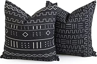 Hofdeco Premium Decorative Throw Pillow Cover Heavy Weight Cotton Linen African Mud Cloth Ethnic Natural Dots and Line 20x20 inches 50x50cm Set of 2