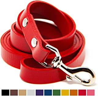 Logical Leather Dog Leash - 6 Foot Heavy Duty Water Resistant Full Grain Leather Lead; Best for Training