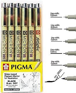 مجموعة أقلام الرسم ساكورا بيغما مايكرون، قلم حبر أرشيفي أسود رفيع، أقلام ألوان متنوعة بمقاسات دقيقة (005، 01، 03، 05، 08، ...