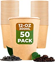 BEELEEVE [50-Pack] Super Strong 100% Compostable Coffee and Tea Cups - Eco - Biodegradable - Disposable Rigid Containers f...