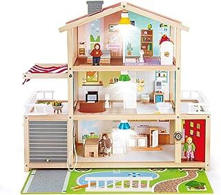 Hape E3405 dockhus för familj – fullt möblerat dockhus i trä