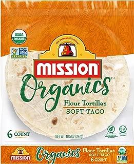 Mission Organics Flour Tortillas | Non GMO, Trans Fat Free | Small Soft Taco Size | 6 Count