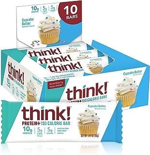 Protein & Fiber Bars by thinkThin - On The Go, Low Sugar, 10g Protein, 5g Fiber, Gluten Free, Non-GMO - Cupcake Batter (10...
