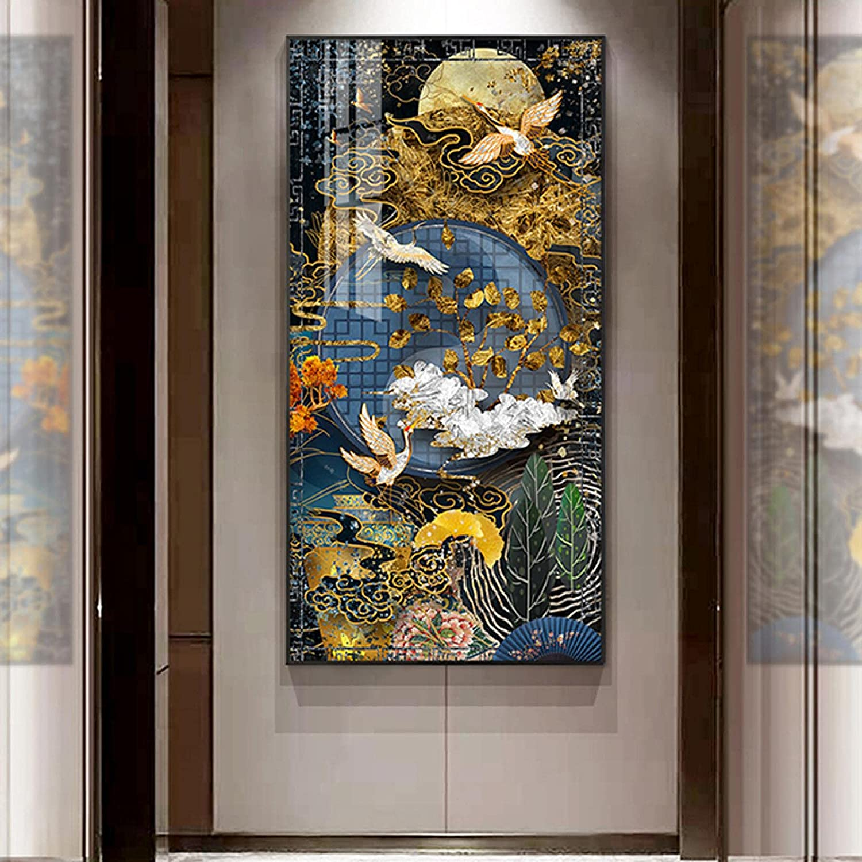 sasasa Golden Animer and price revision Luxury Crane Decorative Printing Popular product Canvas Re Artwork