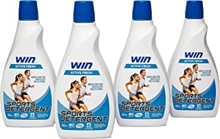 Win Sports Detergent - Active Fresh (Blue) 4 Bottles - Specially Formulated for Sweaty Workout Clothes - Removes Odor from Running Gym and Activewear Apparel and Football Hockey Uniforms