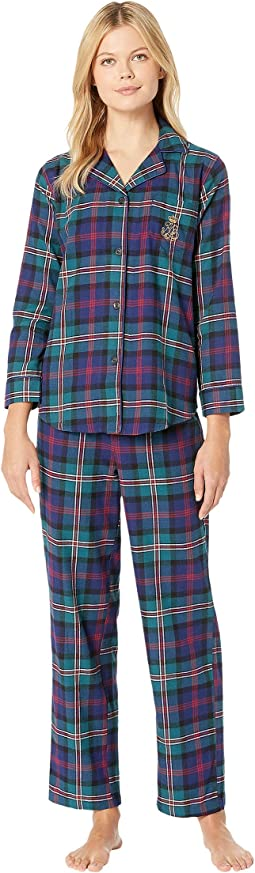 Brushed Twill Long Sleeve Classic Notch Collar Pajama Set