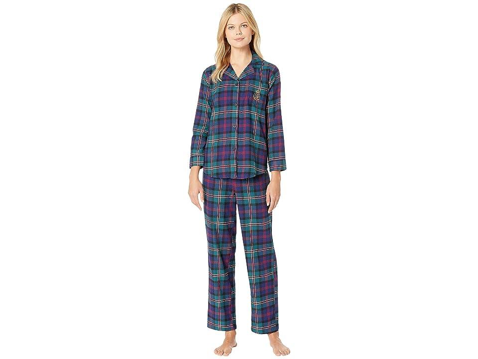 LAUREN Ralph Lauren Brushed Twill Long Sleeve Classic Notch Collar Pajama Set (Green Plaid) Women