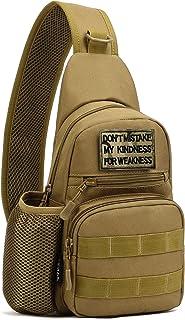 BlesMaller Mochila táctica militar MOLLE cruzada en el pecho, con soporte para botella de agua, bolsa para pañales, moto, ...