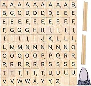 100pcs Wood Letter Tiles for Scrabble, Pinowu Replacement for Scrabble Letters with Wood Racks and Cloth Gift Bag for Kids Craft Playing Alphabet Coasters and Scrabble Crossword Game
