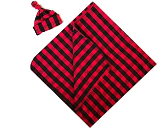 Copper Robin Black and White Buffalo Plaid Swaddle Blanket and Hat Set, Large Receiving Blanket, Newborn Beanie hat (Red/Black Plaid (Prime))