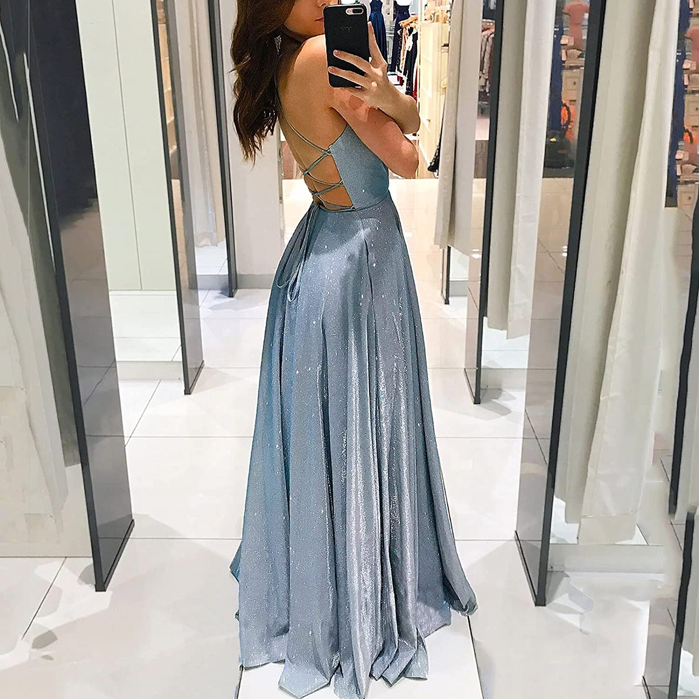 Maxi Dresses for Women,Women Summer High Waist Sleeveless Slip Backless V-Neck Cocktail Wedding Tie Criss Cross Dress