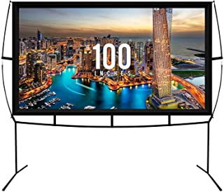 Fast Assembly Design - No Tools Needed - Jumbo 100 Inch 16: 9 Portable Outdoor and Indoor Movie Theater Front and Rear Pro...