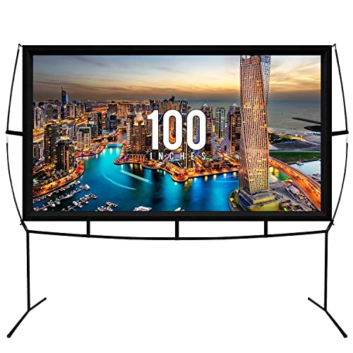 Fast Assembly Design - No Tools Needed - Jumbo 100 Inch 16: 9 Portable Outdoor and Indoor Movie Theater Front and Rear Projector Screen with Stand Legs