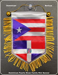 Puerto Rico Flags & Dominican Republic Flags car Flag Home Decoration Accessory Family Love Gifts Packs (DR-PR Mini)