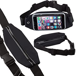Lilware Safety Invisible Waist Bag For Smartphones. Flexible and Adjustable Belt For Running, Cycling, Walking, Geocaching and Other Activities. Black