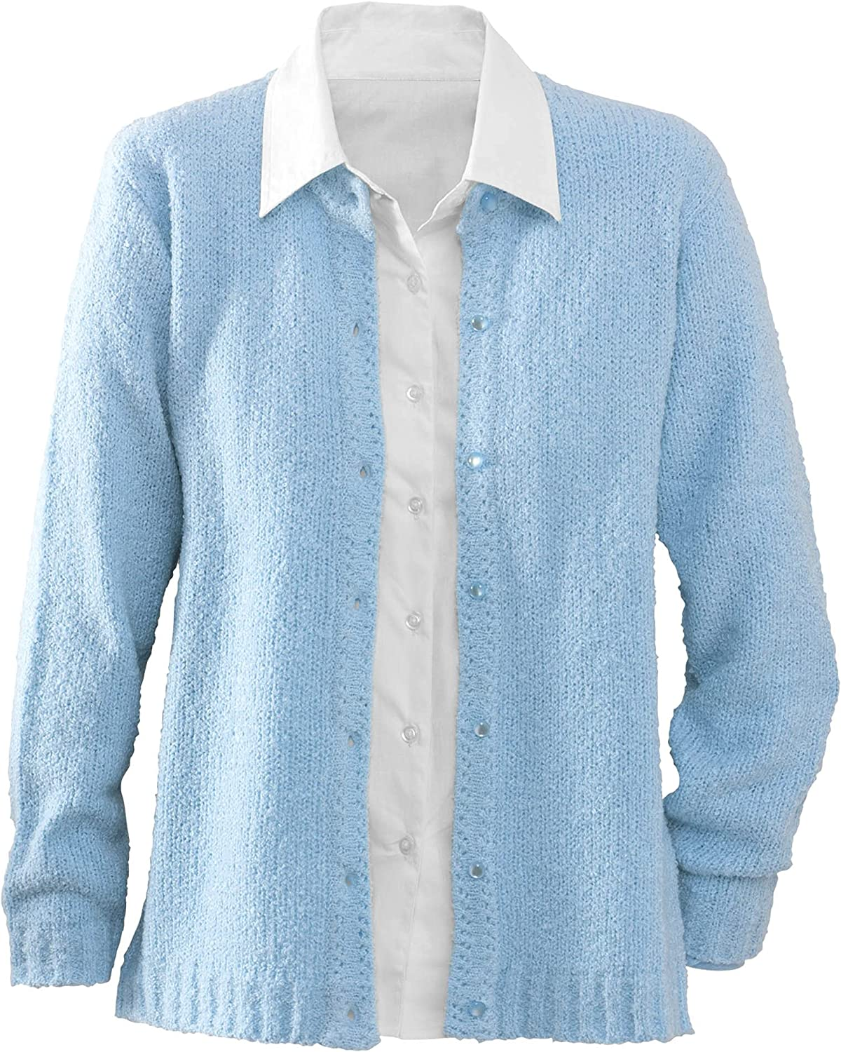 National Bouclé Cardigan Sweater Button-Front Rib-Knit, Cozy and Classic