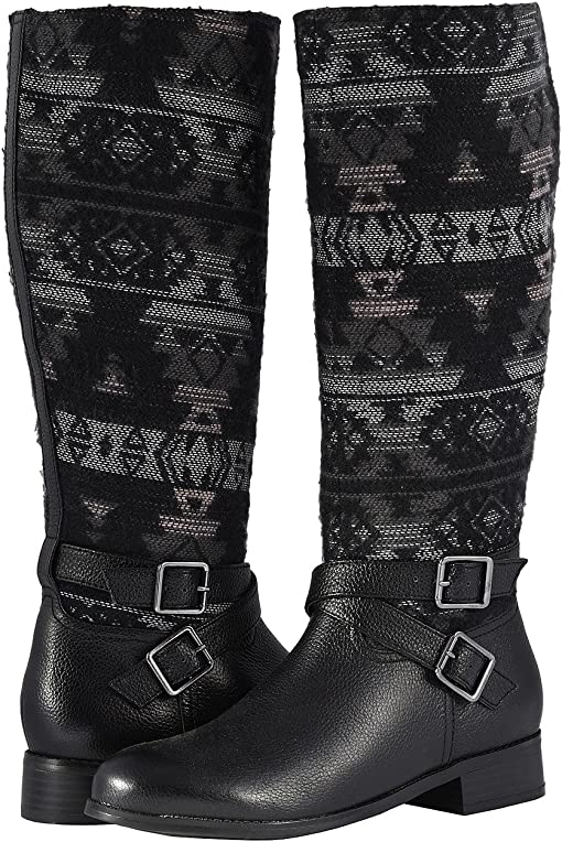 Black Multi Soft Tumbled Leather/Pueblo Textile