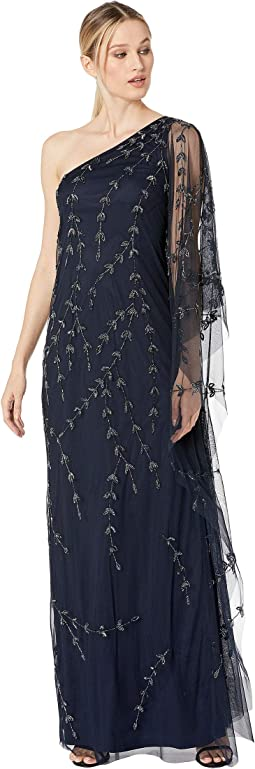 One Shoulder Beaded Kaftan Evening Gown