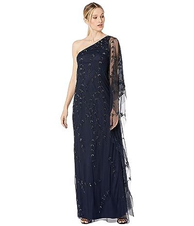 Adrianna Papell One Shoulder Beaded Kaftan Evening Gown (Midnight) Women