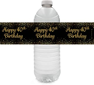 Black and Gold 40th Birthday Party Water Bottle Labels - 24 Count