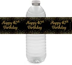 Black and Gold 40th Birthday Party Water Bottle Labels - 24 Stickers