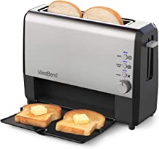 West Bend 77222 2 Slice Toaster QuikServe Wide Slot Slide Through with Bagel and Gluten-Free Settings and Cool Touch Exter...