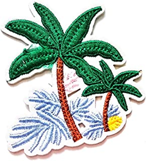Nipitshop Patches Cute Design Tropical Palm Tree Beach Scene Coconut Summer Beach Cartoon Kids Patch Embroidered Iron On Patch for Clothes Backpacks T-Shirt Jeans Skirt Vests Scarf Hat Bag
